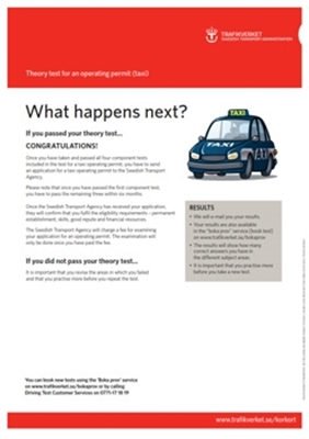 Bild på What happens next? – Theory test for an operating permit (taxi)